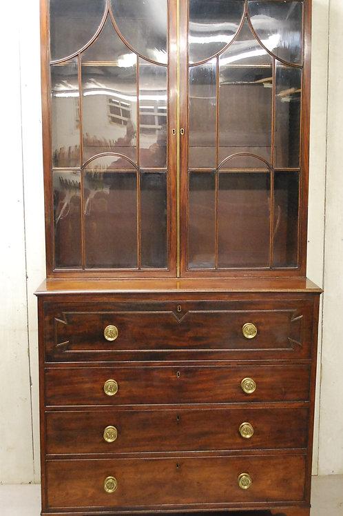 Antique Georgian Mahogany Secretaire Bookcase