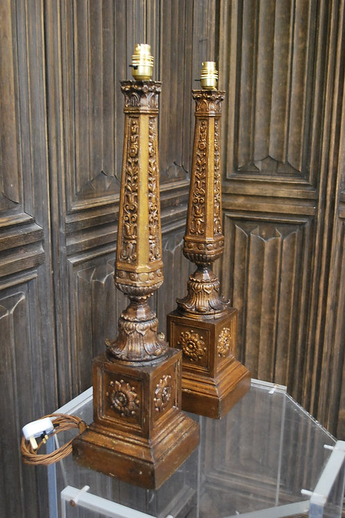 Pair of carved giltwood lamps