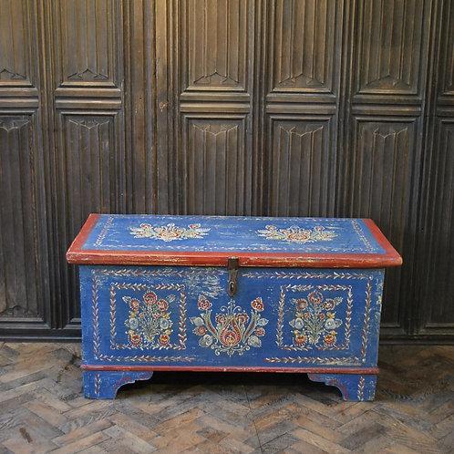 Folk art painted blanket box