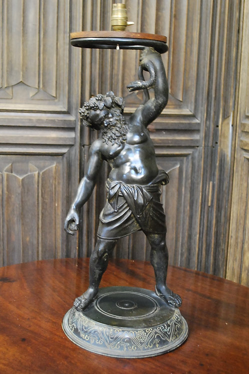 Grand tour Bacchus bronze lamp