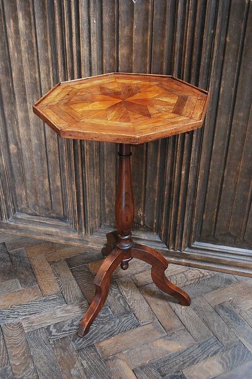 French Mixed Wood Octagonal Tripod Table