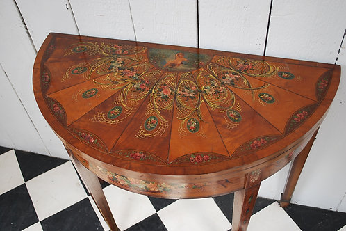 Painted satinwood demi lune card table