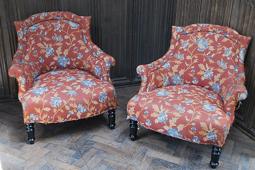 Antique Pair of  French Fauteuil Upholstered Armchairs