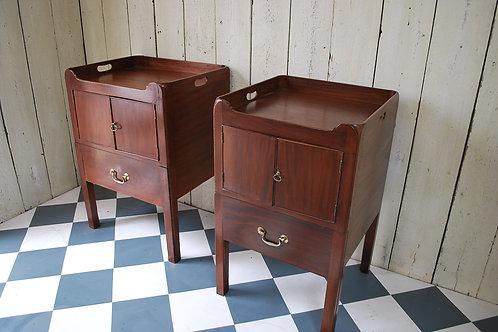Near pair of Georgian mahogany bedside cabinets