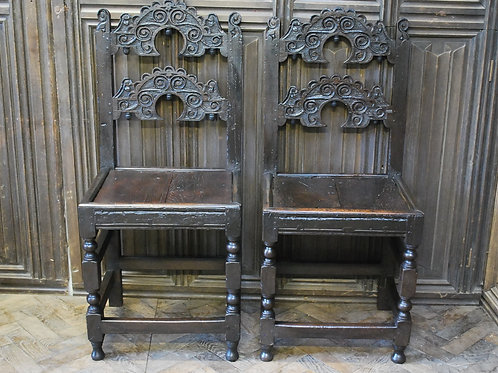 Pair of Yorkshire Carved Oak Backstool chairs