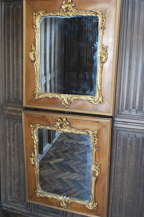 Pair of French Parcel Gilt Mirrors