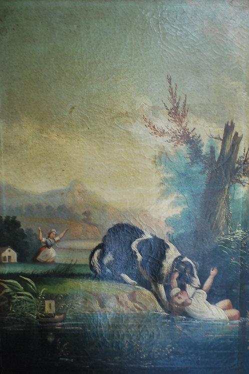 A Dog Saving a Child, Oil on Canvas