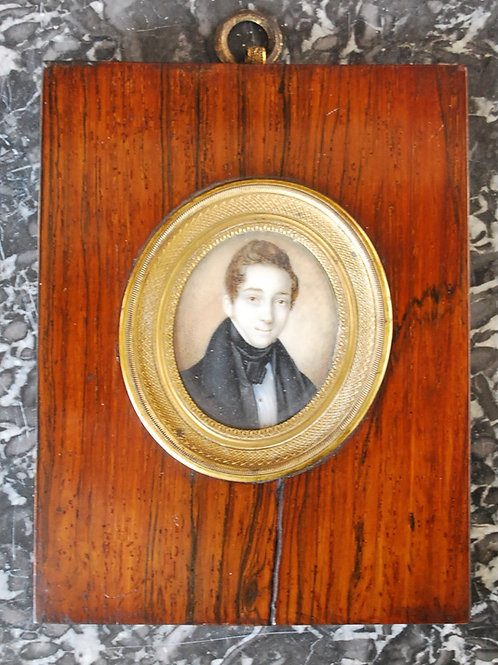Miniature Watercolour Portrait of a Young French Gentleman