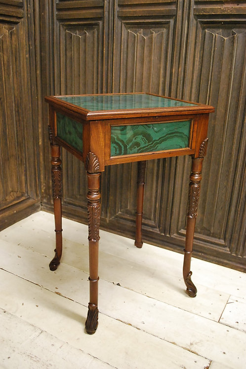 Antique French faux malachite and mahogany occasional table