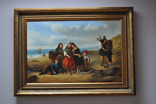 Children on beach-reproduction painting