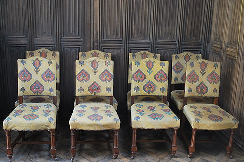 Set of Eight Tapestry Dining Chairs