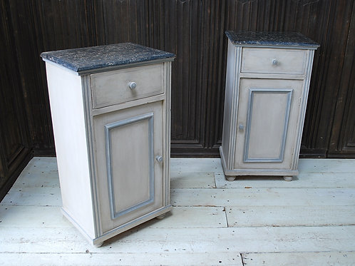 Pair of Antique Painted Pine Bedside Cabinets / Nightstands