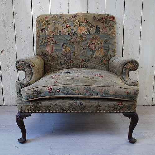 Oversized Queen Anne Style Wing Chair