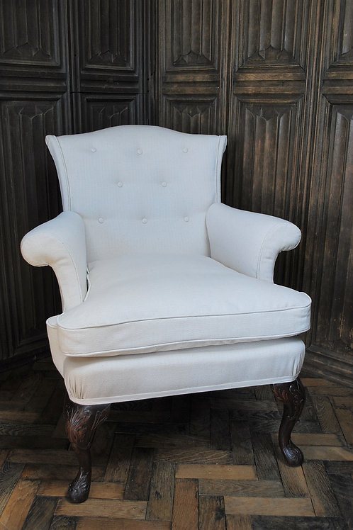 Antique Chippendale Style Upholstered Armchair