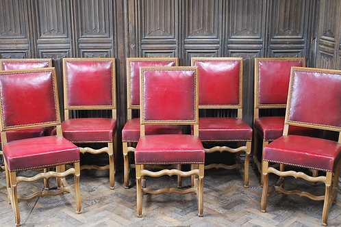 Set of 8 French Leather Dining Chairs