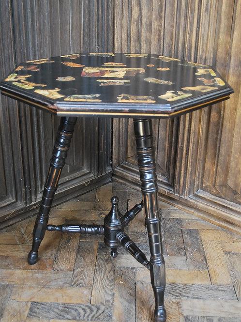 Ebonised Side Table with Decoupage Horses