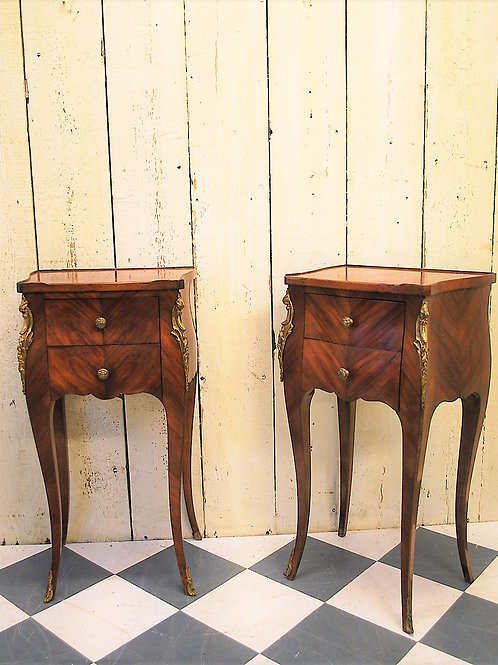 Pair of French Tulipwood Bedside Cabinets/ Nightstands