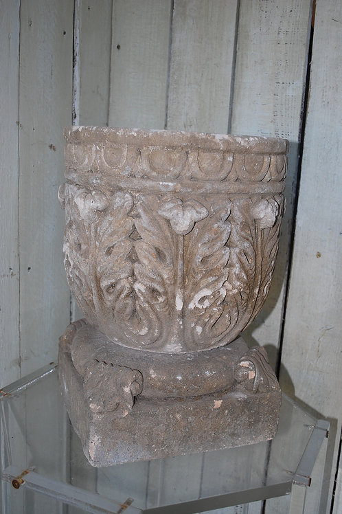 Antique French Carved Stone Planter