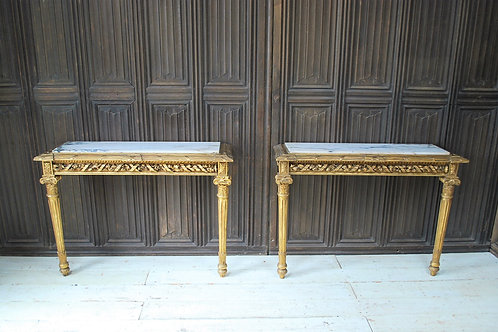 Pair of Giltwood French Console Tables