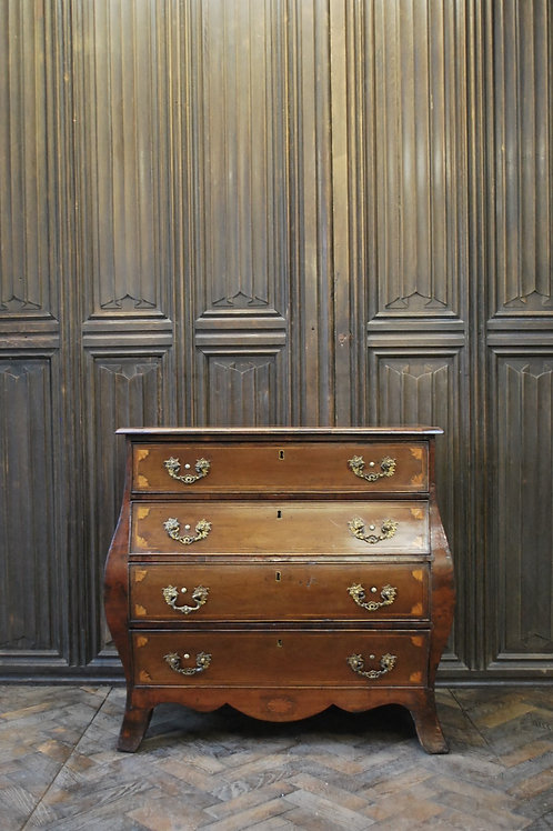 Dutch mahogany bombe commode / chest of drawers