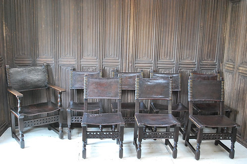 Set of Eight Antique French Renaissance Style Dining Chairs