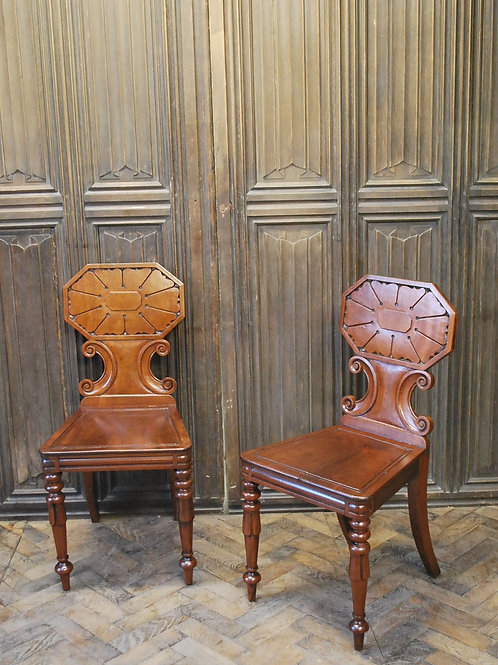 Pair of fine quality Regency hall chairs