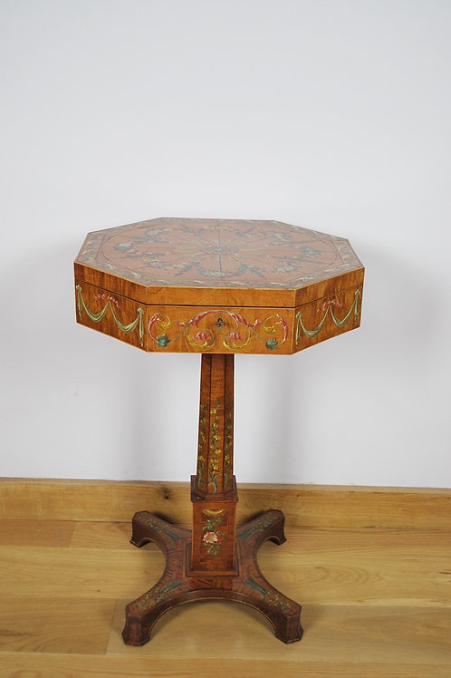 Satinwood painted octagonal work/lamp table