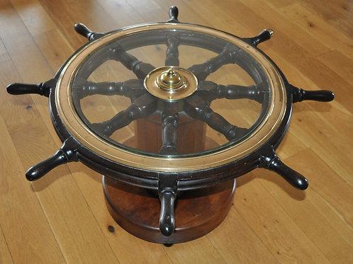 British antique ships wheel coffee table