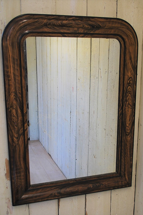 Antique French Faux Wood Louis Philippe Overmantle Mirror