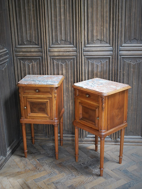 French Mahogany Bedside Cupboards