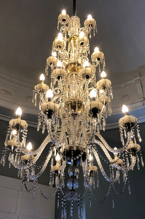 Very large four tier cut glass Chandelier/ceiling light