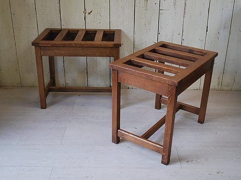 Pair of Edwardian oak Luggage Stands