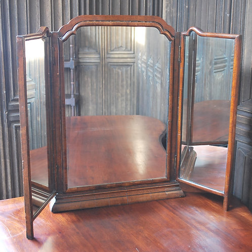 Antique Triptych Walnut Dressing Mirror