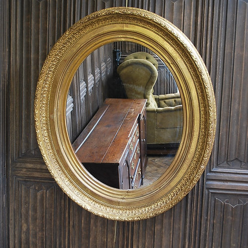 Large Antique Oval Gilded Mirror