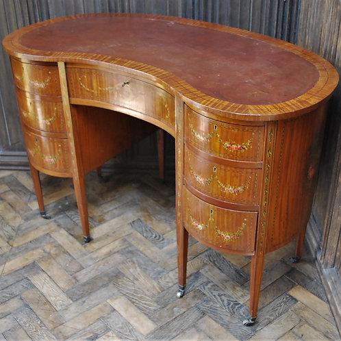 Painted Satinwood Kidney Shaped Desk/ Dressing Table