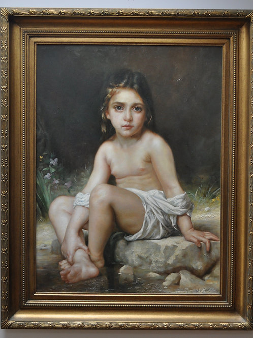 Child at Bath, Adolph -William Bouguereau