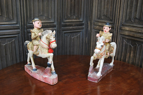 Pair of Painted Figures On Horseback
