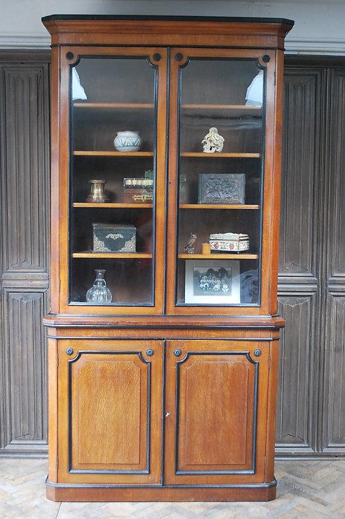 English Oak and Ebonised Library Bookcase