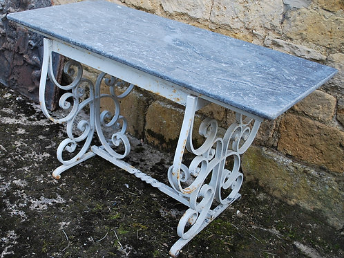 French Iron and Marble Garden Table