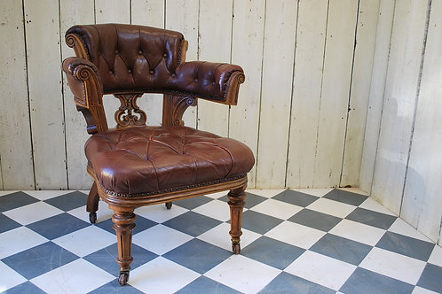 Oversized Oak and Leather Desk Chair