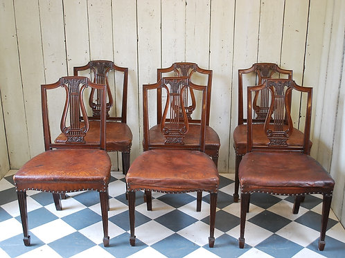Set of Six Sheraton Style Mahogany Dining Chairs