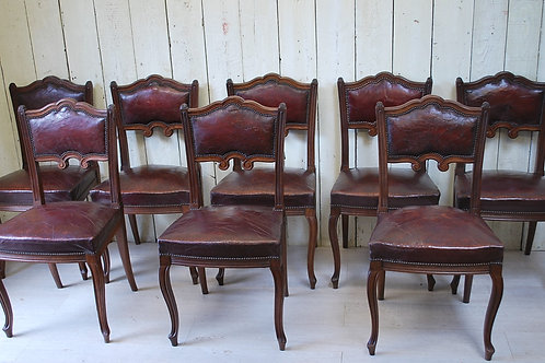 Set of Eight French Leather Dining Chairs