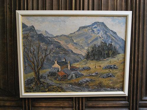 Welsh farm in landscape, oil painting on board/Wales