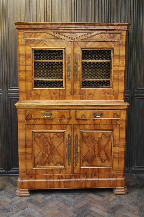 Antique French figured ash bookcase