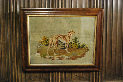 Needlework of a long dog/ greyhound