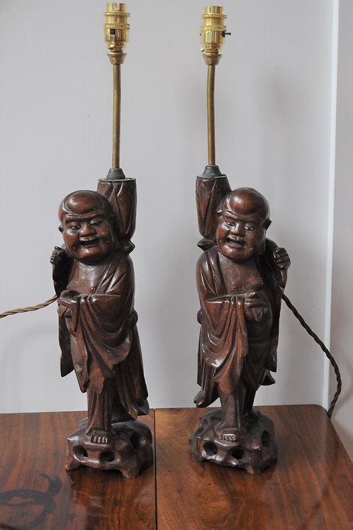 Pair of Chinese carved wood lamps
