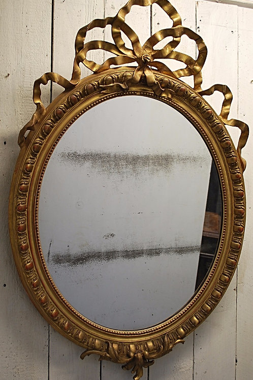 Oval overmantle mirror