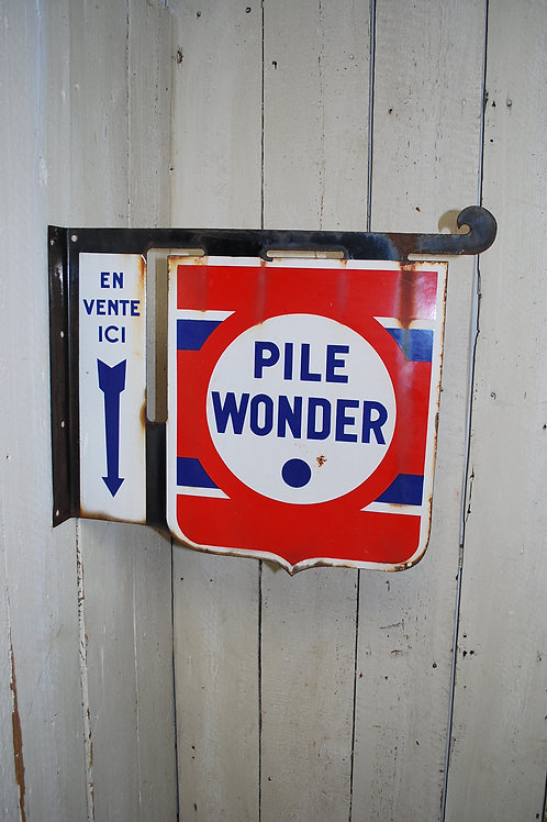 Antique French Enamel Sign battery advertising sign