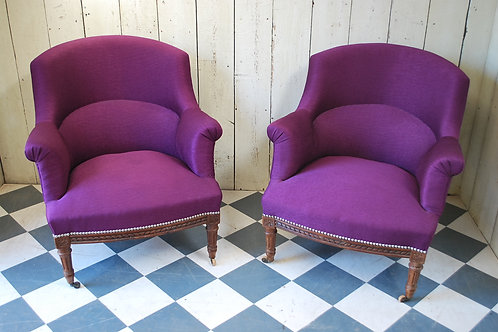 Pair of Upholstered Fauteuil Armchairs /Tub Chairs