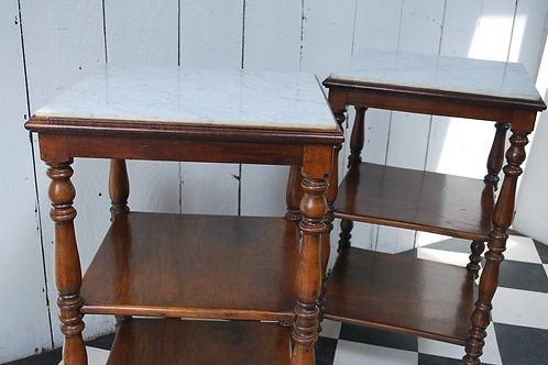 Pair of marble top whatnots